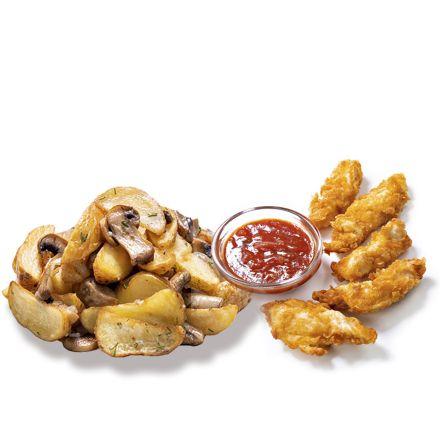 Картофель по-селянски с шампиньнами и куриные нагетсы