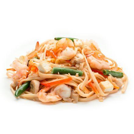 Лапша удон с креветками в сливочном соусе