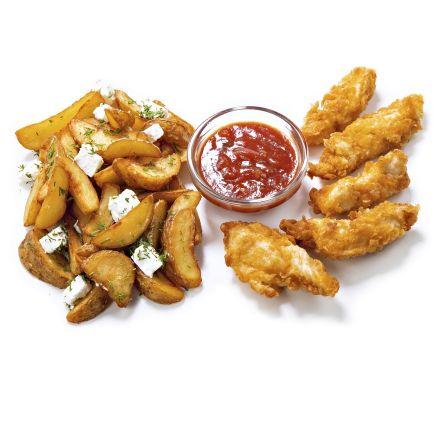 Картофель по-селянски с брынзой и куриные нагетсы