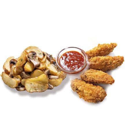 Картофель по-селянски с шампиньонами и куриные крылья