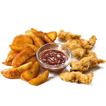 Картофель по-селянски и куриные нагетсы