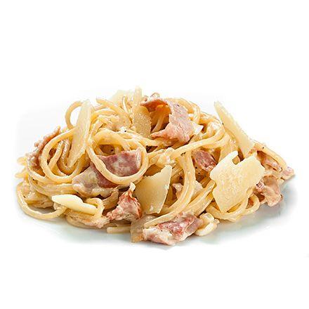 Спагетті з беконом у вершковому соусі