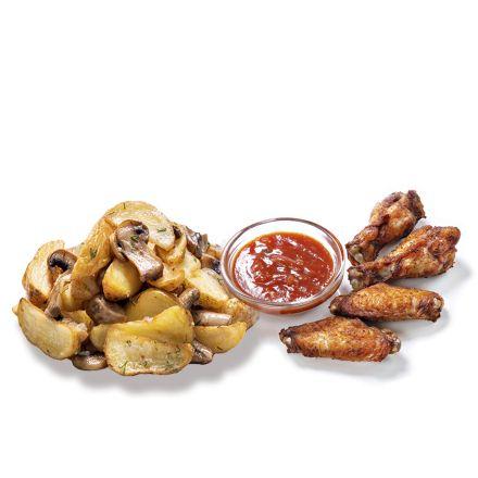 Selyanskiy potatoes with cheese and buffalo wings