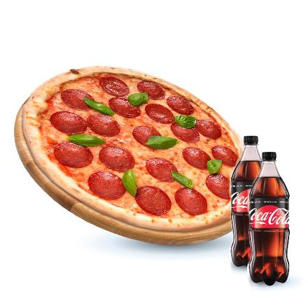 Пепероні + Coca-cola Zero 0,5л 2 шт.