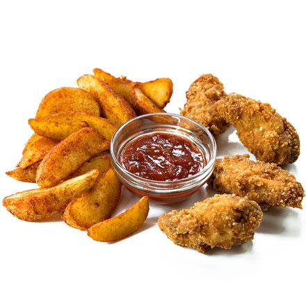 Картофель по-селянски и куриные крылья